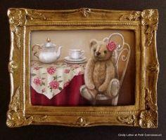 Rose's Teddy Tea Party by Cindy Lotter Small Art, Dollhouse Miniatures, Tea Party, African, Teddy Bears, Oil Paintings, Rose, Cards, Handmade