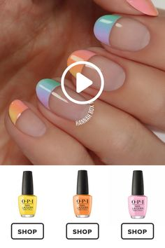 How to get a pastel ombre manicure darbysmart beauty nailpolish nailart nai Nails Yellow, White Nails, Blue Nail, Nail Lacquer, Nail Polish, Nail Nail, Nail Art Designs, Do It Yourself Nails, Nail Picking