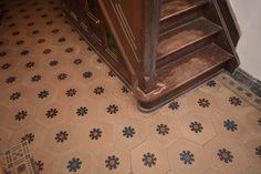100 year old cement tile floor, Hexagone 20cm (Pamel, Belgium).  See replica Julia www.davidgoliath.eu