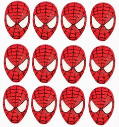 12 Spiderman themed edible cupcake toppers. A set of fondant