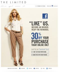 Facebook Campaign: Like to get offer code, useful for e-commerce site.