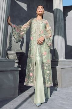 Mint Green Floral Beaded Long Jacket with Silk Inner & Boot Cut Pants, Elan Inspired Hand Embroidered Dress - Pakistani dresses Pakistani Dress Design, Pakistani Outfits, Indian Outfits, Pakistani Bridal Wear, Indian Clothes, Bridal Lehenga, Muslim Fashion, Indian Fashion, Casual Dresses