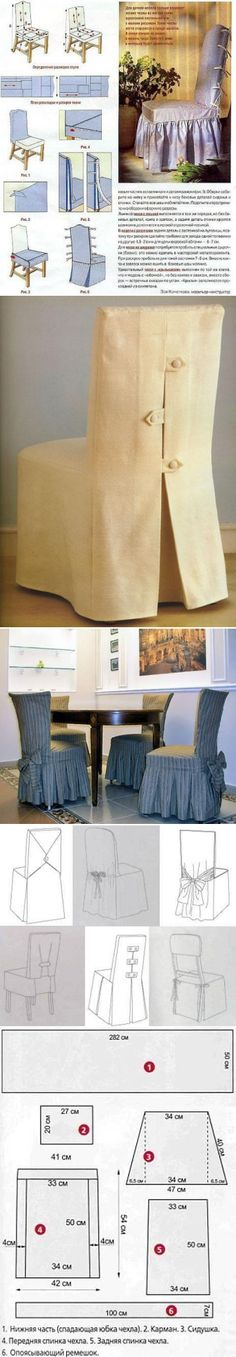 Interior, home, garden, cottage: Chair covers with their own hands Living Furniture, Furniture Making, Dining Room Chair Covers, Drapes And Blinds, Stool Covers, Small Sewing Projects, Christmas Room, Quilted Table Runners, Furniture Covers