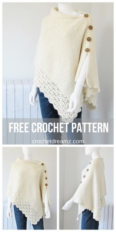 Free Crochet Poncho Pattern, Knit-look This free crochet poncho pattern has a knit look to it. Simple yet classy, this beginner poncho is made from a simple rectangle. Gilet Crochet, Knitted Poncho, Ravelry Crochet, Diy Crochet Poncho, Crochet Jumper Free Pattern, Free Crochet Shawl Patterns, Crochet Wrap Pattern, Crochet Vests, Poncho Shawl