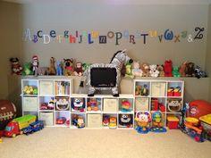 Children's playroom with organization