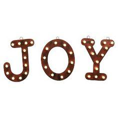 """Lit Vintage Tin """"Joy"""" Sign - Brushed Bronze : Target Mobile"""