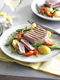 Try our grilled tuna recipe with potato and bean salad. This tuna steak recipe idea is an easy tuna fish recipe with potato salad. Cook our chargrilled tuna Tuna Fish Recipes, Best Fish Recipes, Easy Salad Recipes, Potato Recipes, Seafood Recipes, Healthy Recipes, Grilled Tuna, Olive Recipes, Fish Salad