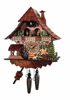 Amazon.com - Traditional Cuckoo Clock Black Forest House with dancers [Kitchen & Home] - Cokoo Clock