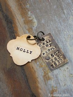CALL MY PEOPLE Pet Tag   Vintage Inspired Pet Tags by SycamoreHill, $16.00    DOG COLLAR TAG HORSE HALTER TAG HANDMADE HANDSTAMPED