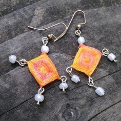 Orange God's Eye Earrings with Pearl Beads by TripIntoLight, $15.00