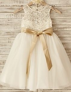 Princess+Knee-length+Flower+Girl+Dress+-+Lace/Tulle+Sleevele...+–+USD+$+69.99