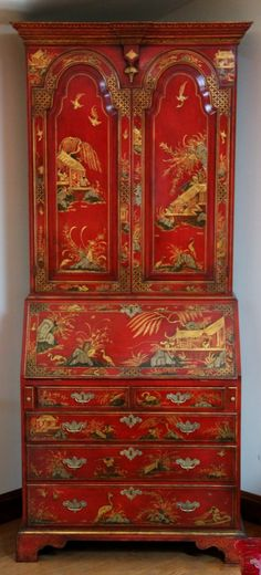 Early 18th Century style Bureau Bookcase and Cabinet top.  Hand-painted outside and inside by highly renowned decorative artist and gilder, Nick Atkins, turning it into a breathtakingly beautiful Chinoiserie lacquer piece. The bureau interior with fitted secret compartments, pigeon-hole design, step drawers and pillared door capitols.  The bookcase top with fitted compartments over small base drawers.