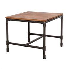 This collection is made of solid brushed Acacia and Metal piping. Metal wire supports add to the industrial style, and also maintain stability and structural integrity.
