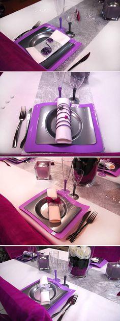 Présentation des serviettes et vaisselle jetable violette