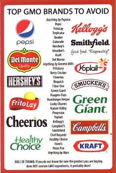 Top GMO Brands To Avoid - https://www.pinterest.com/RebaRossetti/activism-no-gmo/