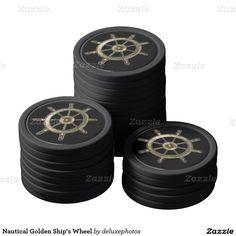 Nautical Golden Ship's Wheel Poker Chips