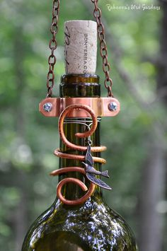 Wine Bottle BirdFeeder The Vineyard by RebeccasBirdGardens
