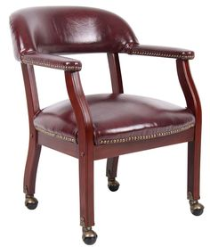 Boss Office Products B9545-BY Boss Captain'S Chair In Burgundy Vinyl W/ Casters