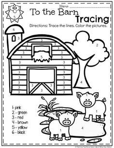 Preschool Farm Theme - Planning Playtime Color by Number Farm Coloring Pages for Preschool Farm Animal Coloring Pages, Preschool Coloring Pages, Alphabet Coloring, Farm Animal Crafts, Farm Crafts, Farm Animals, Preschool Colors, Numbers Preschool, Preschool Farm Theme
