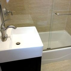 Love this modern sink. Such a statement in a small space.