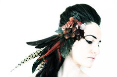"Items similar to Feather Fascinator Rust Brown Filigree Metal Leaves Autumn Wedding OOAK- ""Mad Afflictions"" on Etsy Dance Gear, Tribal Fusion, Feathered Hairstyles, Autumn Wedding, Headband Hairstyles, Headgear, Headdress, Hair Pieces, Filigree"