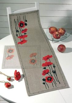 Red Poppy Table Runner Counted Cross Stitch Kit