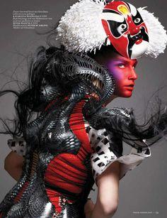 Futuristic Geisha Editorials - Eugenia Volodina by Ishi for Vogue Netherlands March 2013 is Fierce (GALLERY) #fashion #geisha #japanese #photoshoot
