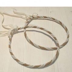 Λινάτσα - Σπάγγος : Χειροποίητα Στέφανα Γάμου Λινάτσα -Δαντέλα -11: Hoop Earrings, Bracelets, Silver, Jewelry, Bangle Bracelets, Jewellery Making, Jewerly, Jewelery, Jewels
