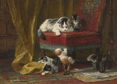 Ronner-Knip Henriëtte  DUTCH  1821-1909  MOTHER'S PRIDE WATCHING THE PREY