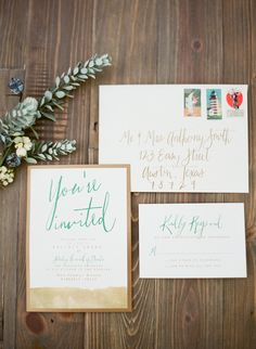Wedding invitations by The Stationery Bakery - On Style Me Pretty: http://www.StyleMePretty.com/2014/02/28/cozy-outdoor-wedding-inspiration/ Loft Photographie LLC
