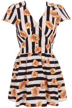 Orange Poppy Flower Stripe Dress. Description  Stripe dress, featuring V-neck and short sleeve styling, orange poppy flower throughout, horizontal and vertical stripe design, small buttoned front, hollow-out buttoned back, draped, lined. Fabric Polyester. #Romwe