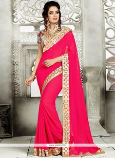 Affectionate Patch Border Work Hot Pink Classic Saree Model: YOSAR11880