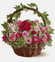 Cross Stitch | Basket with Flowers xstitch Chart | Design