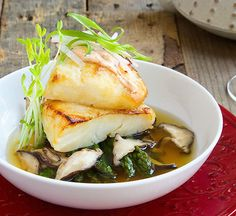 Miso Glazed Sea Bass with Dashi Broth. Japanese style food tastes so much better when you're making it fresh. http://www.chefd.com/collections/all/products/miso-glazed-sea-bass