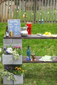 HGTV.com shows how to make an outdoor bar and planter for less than $100.