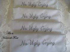 Embroidered Wedding Hankies for Bridesmaids. Set of 5 No Ugly Crying Keepsake on Etsy, $50.00