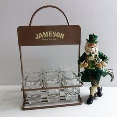 Jameson Irish Whiskey Shot Glass Caddy Set & Kurt Adler Irish Santa Ornament LOT #JamesonWhiskeyKurtAdler