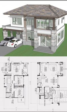 House Plans Mansion, Bedroom House Plans, Dream House Plans, House Floor Plans, House Layout Plans, House Layouts, Contemporary House Plans, Modern House Design, Contemporary Style