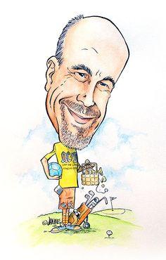 Erilainen 50-vuotislahja - karikatyyritaulu. 50th gift caricature to golf and Apple products lover. #50lahja #50vuotiaalle #viisikymppiselle #lahja