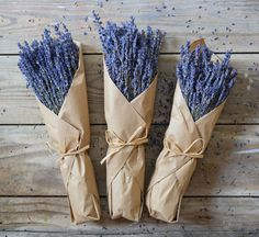 """Our lavender is grown in Provence, France, under the French sun, nurtured in the perfect soil and temperature, and harvested at the peak of perfection. Use these kraft paper wrapped lavender bunches to decorate your home or give them as gifts. - Include: Three (3) Natural Lavender Bunches - Height: 12""""-14"""" Wrapped in Kraft Paper - Lavender is of potpourri grade and not meant for human consumption"""