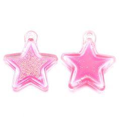 Festival haarbedels / Bedel roze ster 'Pink twinkling star' / 1 stuk