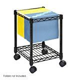 #ad Safco Products 5277BL Compact Mobile File Cart for Letter or Legal Size Folders (sold separately), Black  Compact your filing and accelerate organizing. The file cart is ideal for active project filing by your desk or workstation. Sturdy steel wire construction. Hanging file frame accommodates letter and legal-size folders (not included). Includes bottom shelf to hold supplies. Tucks neatly under work surfaces when not in use. Rolls easily on four swivel casters, 2 locking.   Co..