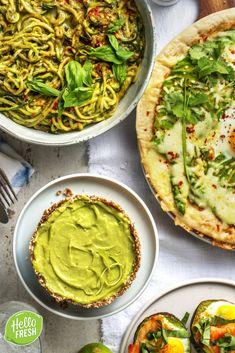 Avocado Pizza, Avocado Guacamole, Palak Paneer, Pesto, Love Food, Brunch, Veggies, Healthy Recipes, Fresh