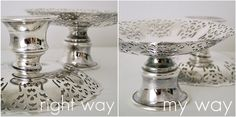 DIY mini cake stand for PLAY KITCHEN  -- sooooo need to find some items like these to spray paint