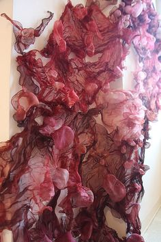 Fabric Manipulation - dyed & textured silk, suspended to create fluid drape - fiber art using shibori techniques; 3D surface pattern creation // Rebecca Cross #textiles