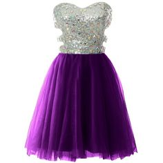 Women Strapless Cutout Sequin Short Prom Evening Dress Formal Ball... ($109) ❤ liked on Polyvore featuring dresses, gowns, prom gowns, strapless prom dresses, purple sequin dress, formal gowns and sequin gown