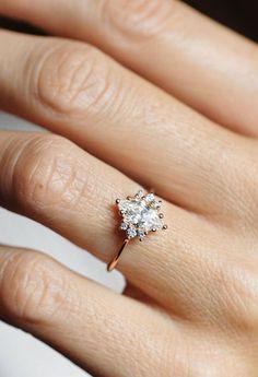 Beautiful Alternative Marquise Diamond Engagement Ring   MinimalVS on Etsy