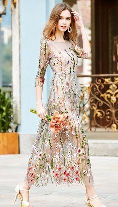 Sexemara подиумные платья Великолепная Sheer сетки с вышивкой длинные платья в богемном стиле весна и осень Высокое качество платьякупить в магазине SexeMaraFactory StoreнаAliExpress