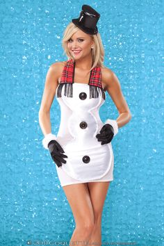 """Satin and mesh """"Snow Man"""" halter dress with decorative ruffled trim; 3 large buttons and faux plaid scarf with fringe."""