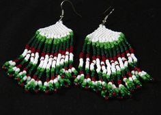 beaded earrings. Ggreen, white and red.